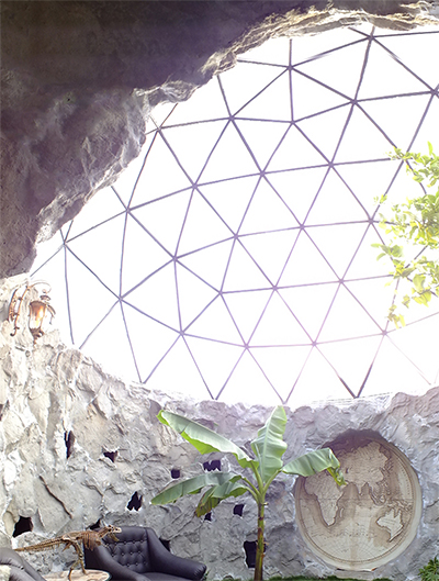 Pollux Dome - A 5m diameter single-pane glass dome designed as a greenhouse for exotic plants.