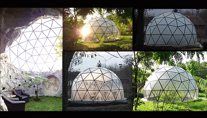 Buy Glass metal sustainable geodesic dome homes eco house
