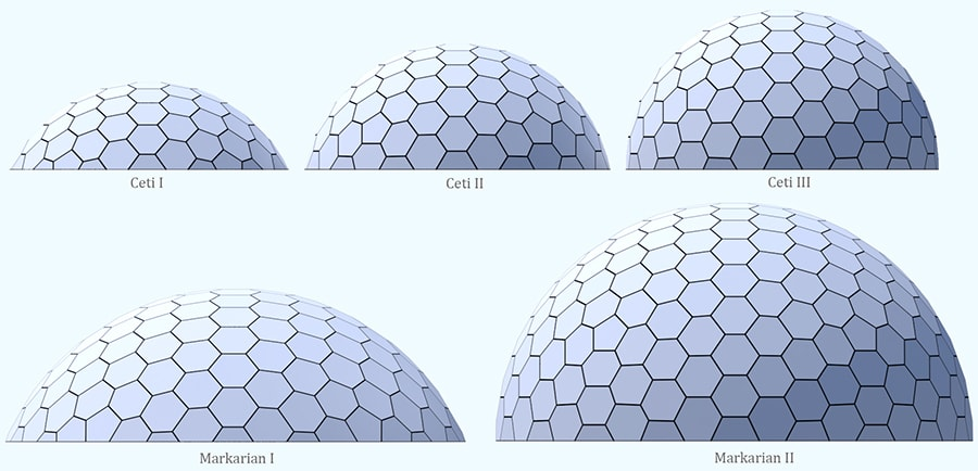 Dome home models for the hexagonal panel domes