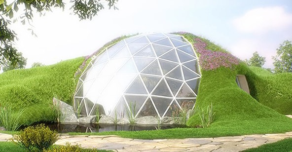 Green roof Dome House - Antares Dome 10m diameter - Sustainable ecohouse, earth shealtered dome home